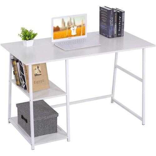 Woltu Schreibtisch, Moderner Schreibtisch mit zwei Ablagen, weiß