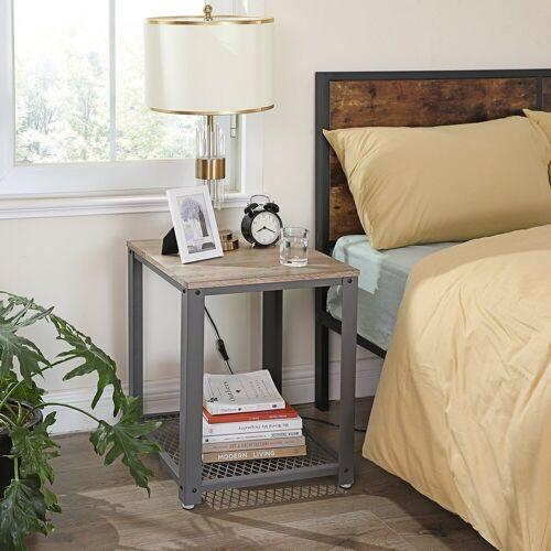 VASAGLE Beistelltisch »LET41«, Beistelltisch, Nachttisch, Sofatisch, Wohnzimmertisch, stabil, mit Metallgestell, einfach zu montieren, Wohnzimmer, Schlafzimmer, Holzoptik, greige-grau, Grey