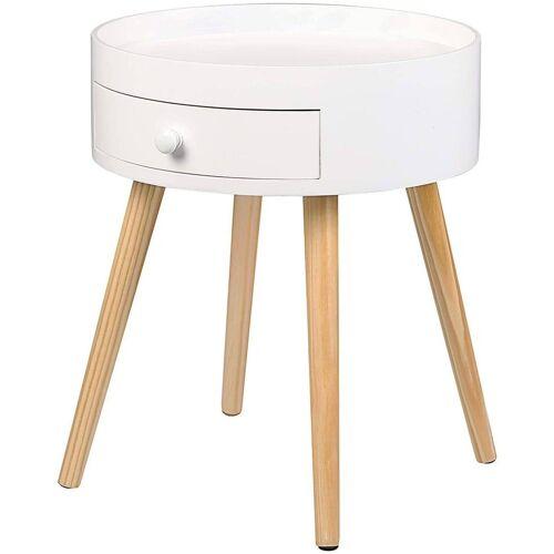 Woltu Nachttisch, Nachttisch mit Schublade modern rund weiß