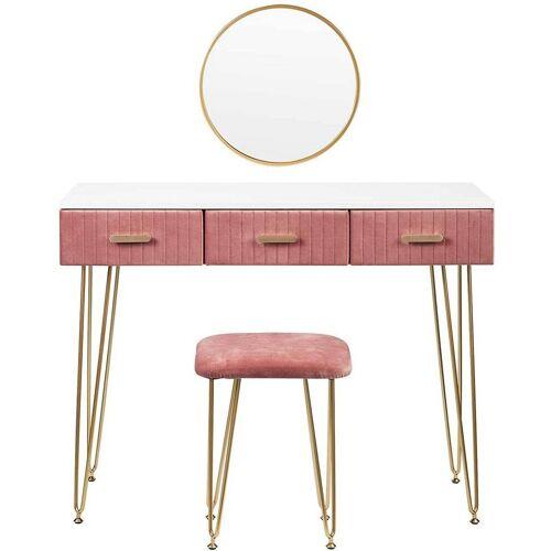 Woltu Schminktisch »MB6080rs«, Schminktisch mit Spiegel rosa
