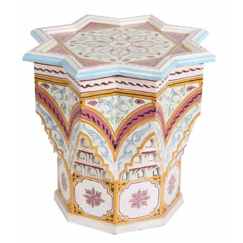Casa Moro Beistelltisch »Orientalischer Beistelltisch Riad Beige Ø 53cm Höhe 54cm aus Holz handbemalt, marokkanischer Couchtisch Vintage Sofatisch, Kunsthandwerk aus Marokko, « (1-St), HM1032