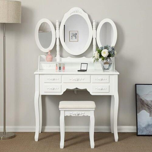SONGMICS Schminktisch »RDT91W«, Schminktisch mit 3 Spiegel und Hocker, 45 x 90 x 40 cm, weiß