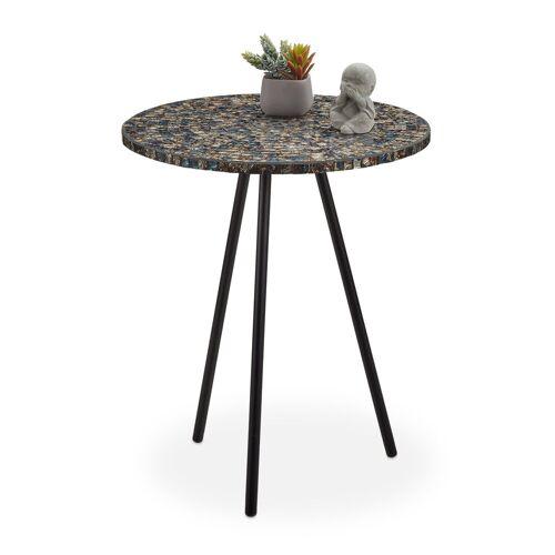 relaxdays Beistelltisch »Beistelltisch Mosaik«, Schwarz/Gold