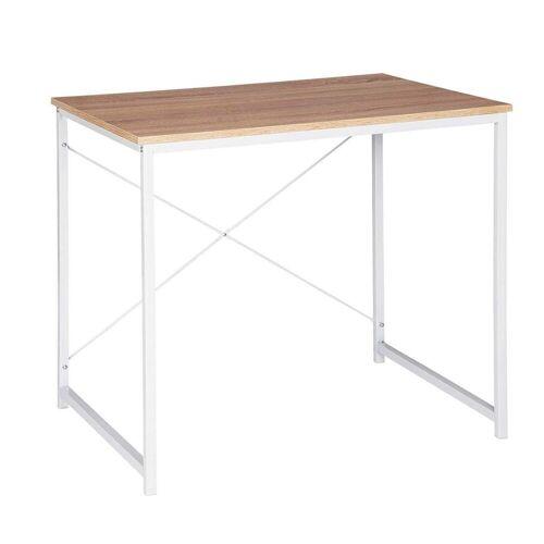 Woltu Schreibtisch, Schreibtisch im Desktop Design, Weiss+hell Eiche