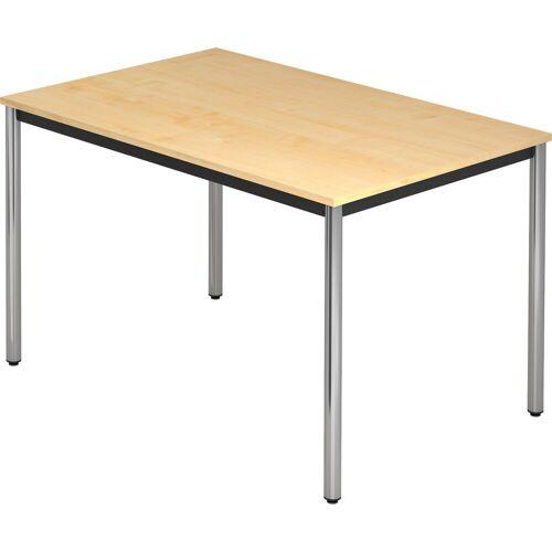 bümö Konferenztisch »OM-DR12-C«, Meetingtisch & Besprechungstisch System - Rechteck: 120 x 80 cm - Gestell: Chrom, Dekor: Ahorn, Ahorn   Ahorn