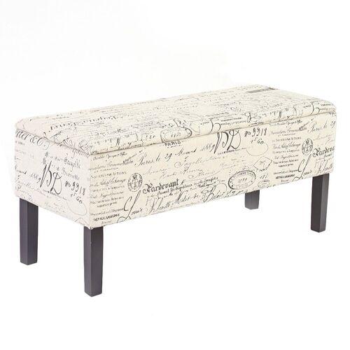 MCW Sitztruhe »Renens«, Mit praktischem aufklappbaren Deckel, Integriertes Aufbewahrungsfach, Gepolsterte Sitzfläche, Schriftzug-beige