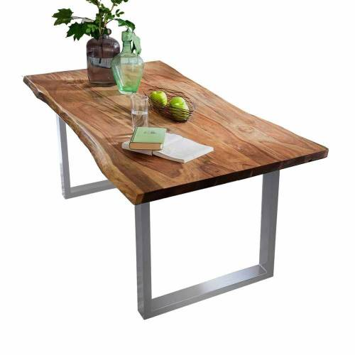 Pharao24 Baumkantentisch »Leane«, aus Massivholz, mit Baumkante
