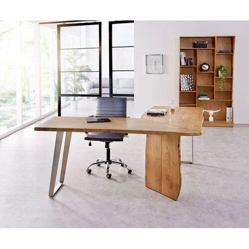 DELIFE Schreibtisch »Live-Edge«, Akazie Natur 170x170 Gestell Silber Baumkante Schreibtisch, Natur
