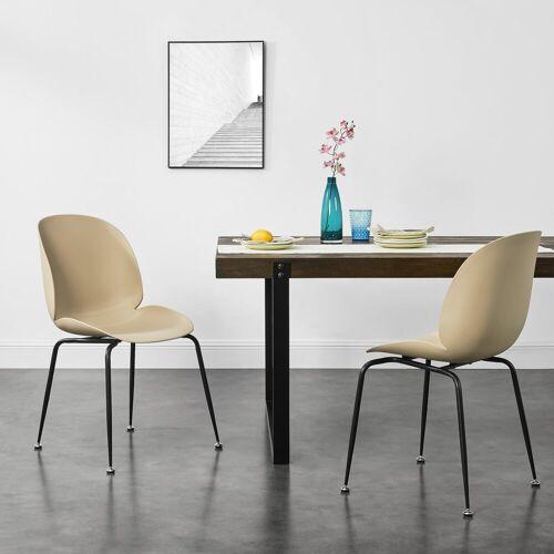 en.casa Schalenstuhl 2er Set Stühle »Aaron«, beige