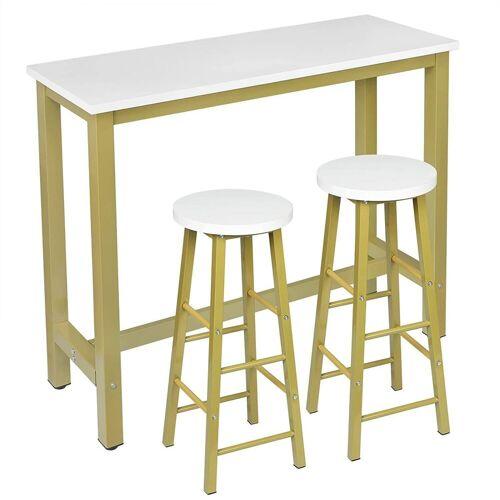 Woltu Bartisch, 1 x Bartisch + 2 x Barhocker Set aus Metall & MDF, gold-weiß