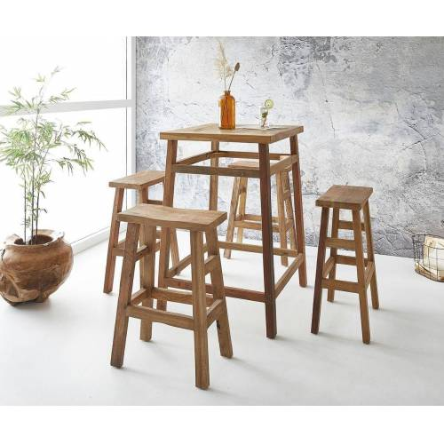 DELIFE Bartisch »Dafna«, Exotic Wood 110 cm mit 4 Stühlen