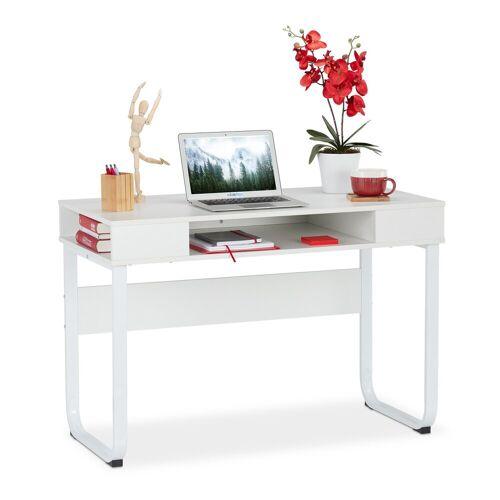relaxdays Schreibtisch »Schreibtisch mit 3 Ablagefächern«, Weiß
