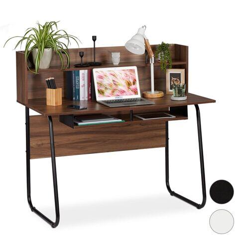 relaxdays Schreibtisch »Schreibtisch mit Ablagefächern«, Holzoptik