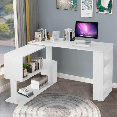 Flieks Schreibtisch, Eckschreibtisch Computertisch Bürotisch Gaming Tisch, 360-Grad-Drehung, offene Regale zur Aufbewahrung, weiß