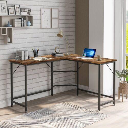 Fangqi Computertisch »Computertisch Großer L-förmiger PC Tisch Bürotisch Arbeitstisch Platzsparende, Gaming, Metallrahmen«, braun