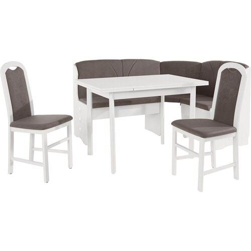bv-vertrieb Eckbankgruppe »Eckbankgruppe weiss Eckbank Tisch 2 Stühle weiss (3687)«, (4-tlg)