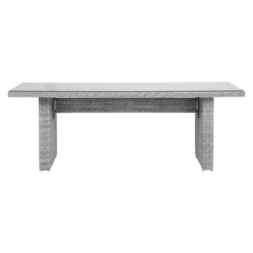 ebuy24 Gartentisch »Vinor Gartentisch 210 x 96 cm, mit Glasplatte, san«