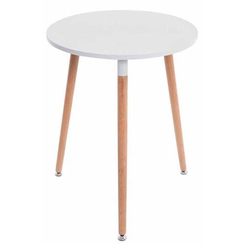 CLP Esstisch »Amalie«, Retro-Design Küchentisch mit 3 Holzbeinen, weiß