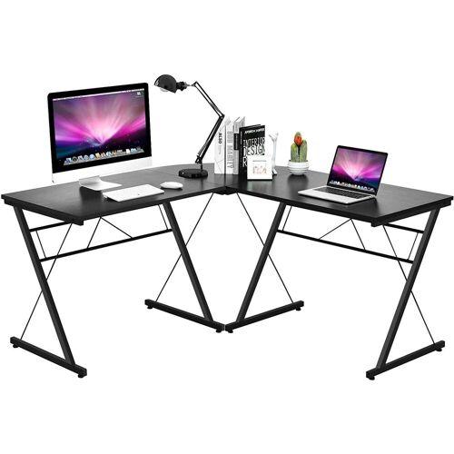 COSTWAY Computertisch »Computertisch«, L-Form Schreibtisch Computerschreibtisch Bürotisch Ecktisch Eckschreibtisch Winkelschreibtisch, Schwarz + Braun