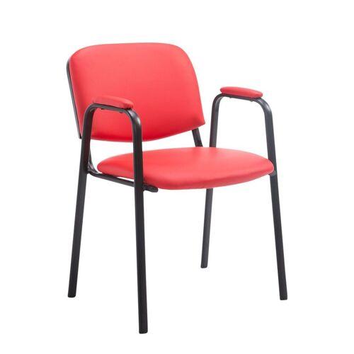 CLP Besucherstuhl »Ken PRO Kunstleder« mit Armlehne und Bodenschonern, rot