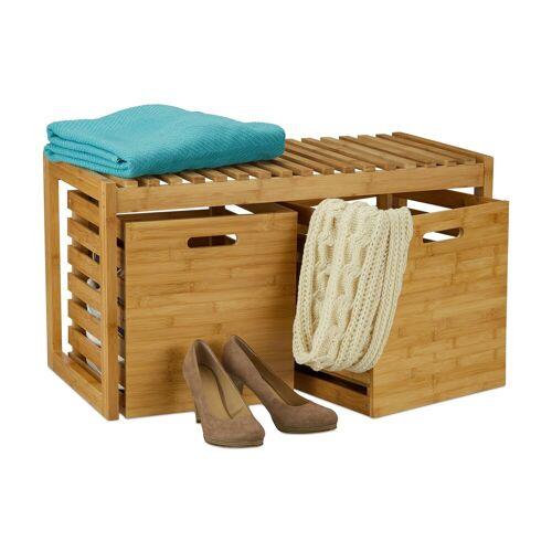relaxdays Sitzbank »Sitzbank mit Stauraum Bambus«