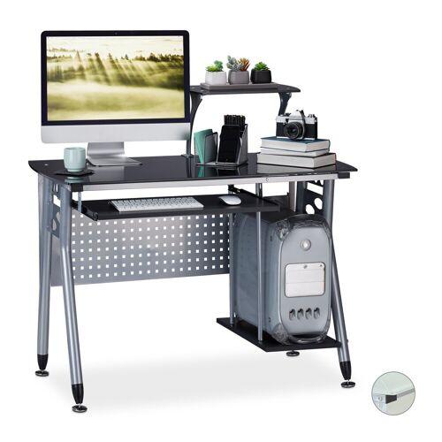 relaxdays Computertisch »Moderner Computertisch mit Glasplatte«, Schwarz
