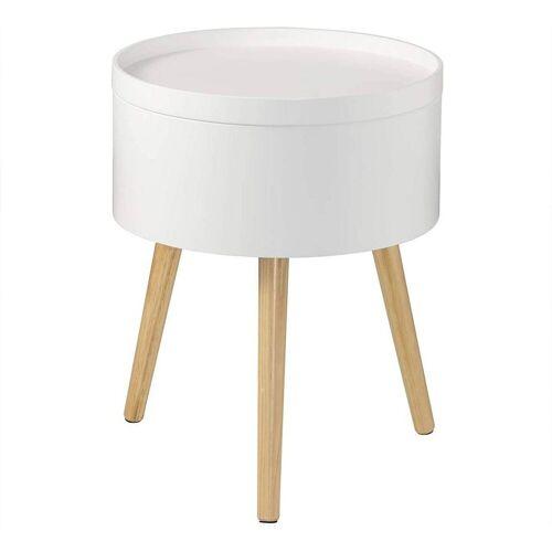 Woltu Nachttisch, Runder Nachttisch mit Stauraum aus MDF & Holzbeine weiß