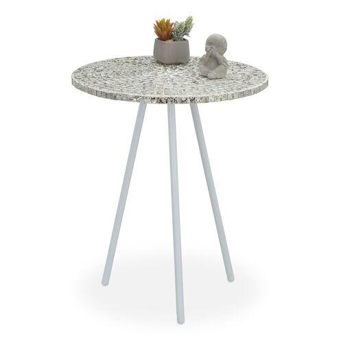 relaxdays Beistelltisch »Beistelltisch Mosaik«, Weiß