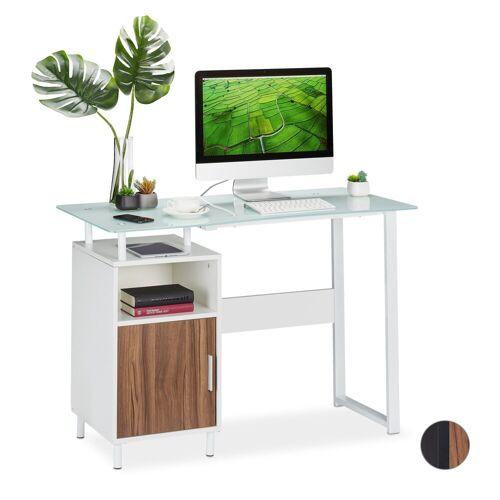 relaxdays Schreibtisch »Schreibtisch mit Glasplatte«, Weiß