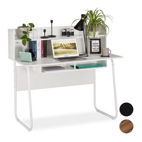 relaxdays Schreibtisch »Schreibtisch mit Ablagefächern«, Weiß
