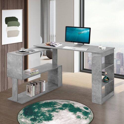 Flieks Schreibtisch, Eckschreibtisch Computertisch Bürotisch Gaming Tisch, 360-Grad-Drehung, offene Regale zur Aufbewahrung, grau