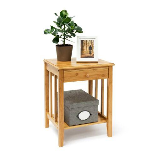 relaxdays Beistelltisch »Bambus Beistelltisch mit Schublade«