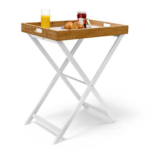 relaxdays Tabletttisch »Tabletttisch Holz & Bambus 72 cm«
