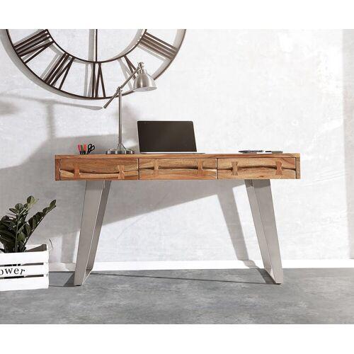 DELIFE Schreibtisch »Live-Edge«, Akazie Natur 137 cm Massivholz Baumkante Schreibtisch
