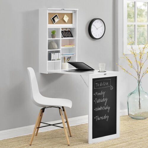 en.casa Wandregaltisch, Ausklappbarer Schreibtisch [Weiß] - Mit Regal, Pinnwand & Tafel, weiß