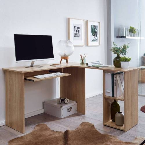 FINEBUY Schreibtisch »SuVa11893_1«, Schreibtischkombination 140 x 75,5 x 120 cm Schreibtisch mit Regal Arbeitszimmer Home Office Tisch Büro Modern