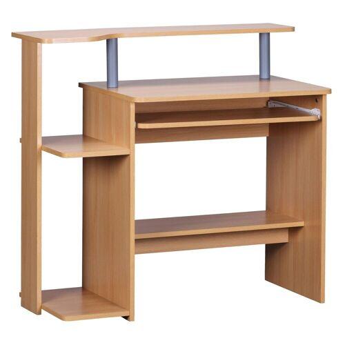 FINEBUY Schreibtisch »SuVa1905_1«, Computertisch 94x90,5x48,5 cm Laptop Tisch Modern mit Tastaturauszug PC-Tisch mit Drucker-Ablage platzsparend Schreibtisch für kleine Räume mit Ablage Laptoptisch Klein, Buche