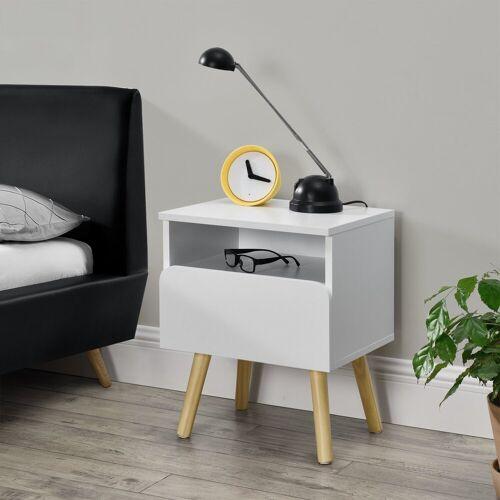 en.casa Nachttisch, Stylischer Beistelltisch »Dargaville« mit Schublade - 40 x 34 x 50cm - Weiß