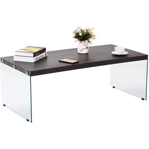 COSTWAY Couchtisch »Glastisch, Kaffeetisch«, Glastisch für Wohnzimmer/Balkon/Flur