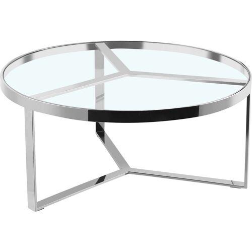 Leonique Beistelltisch »Palmer«, rund, Gestell aus Edelstahl, Glastisch