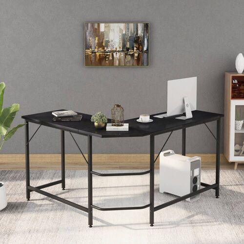 Fangqi Computertisch »Computertisch Großer L-förmiger PC Tisch Bürotisch Arbeitstisch Platzsparende, Gaming, Metallrahmen«, schwarz