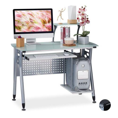 relaxdays Computertisch »Moderner Computertisch mit Glasplatte«, Weiß