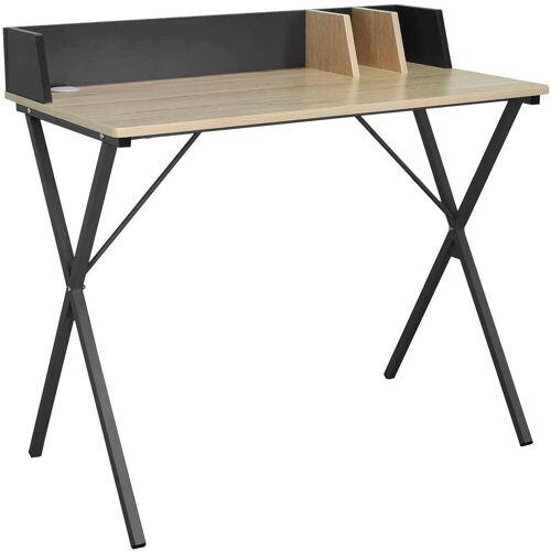 Woltu Schreibtisch, Schreibtisch aus Holz & Metall, Designer X-Gestell, eiche hell