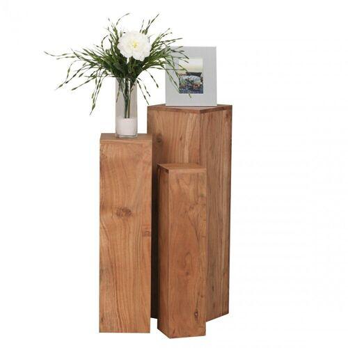 Wohnling Beistelltisch »WL1.567«, 3er Set Massivholz 24,5x85x24,5 cm Akazie Tische Holztisch Natur-Produkt Echtholz e Dekosäulen Drei Holztische Braun Blumenhocker Holz Modern