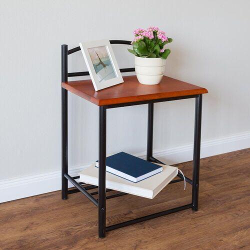Homestyle4u Nachttisch, schwarzer Metallnachttisch, verschiedene Muster