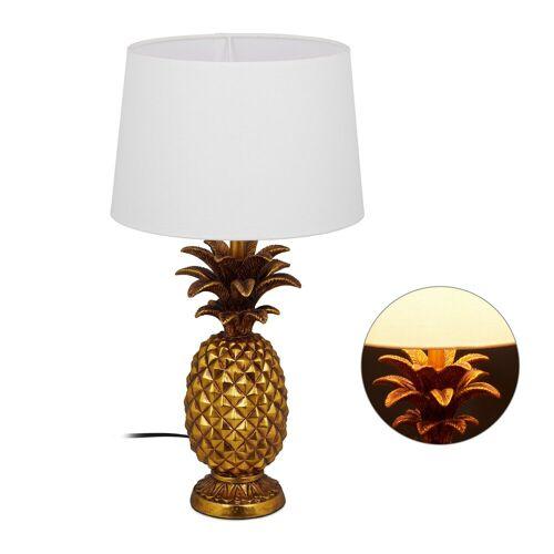 relaxdays Tischleuchte »Tischlampe Ananas gold«