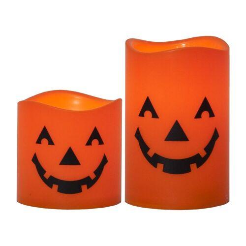 """STAR TRADING LED-Kerze »LED Kerzen """"Halloween"""" - 2 gelbe LED - D: 7,5cm H: 11,5cm und 7,5cm - Batterie - orange - 2er Set«"""