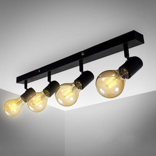 B.K.Licht LED Deckenspots, LED Vintage Deckenlampe Retro Deckenleuchte schwarz Industrie E27