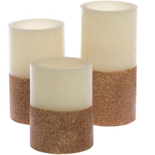 LED-Kerze »Silver Star« (Set, 3-tlg), cremefarben-goldfarben