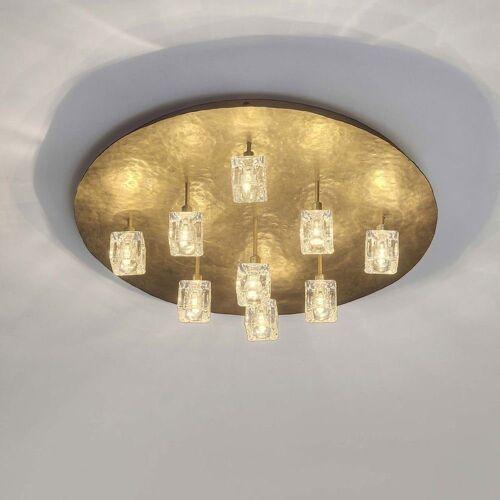 Holländer Deckenleuchte »9-flammig Lucente Eisen-Kristallglas Gold«